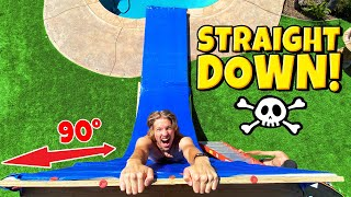 Build GIANT Straight Down Drop WATER SLIDE in 1 Day! *INSANE*