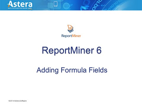 Adding Formula Fields in ReportMiner