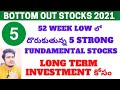 5 Bottom Out Stocks To Invest Now | Stocks At Near 52 Week Low | Best Stocks To Buy Now | 2021