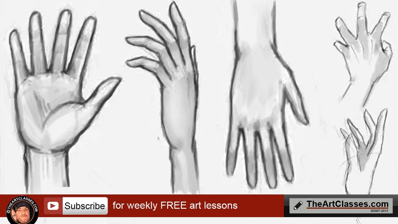 How to draw hands, step by step front and back - YouTube