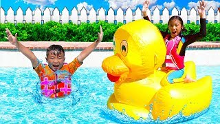 Wendy Pretend Play with Giant Inflatable Duck Swimming Pool Toys