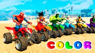 FUN LEARN COLORS ATV and JETSKI w/ SUPERHEROES for Children Nursery Rhymes