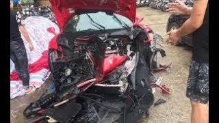 Tai nạn giao thông ở Phú Thọ: Siêu xe Ferrari của ca sĩ Tuấn Hưng gặp nạn trên cao tốc đầu nát bét