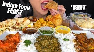 ASMR INDIAN FOOD FEAST (Eating Sounds) | Biryani Rice Pani Puri Samosa Butter Chicken | ASMR Phan