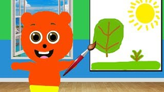 Gummy Bear Babies painting the wall 💗 Children's cartoons & Nursery Rhymes