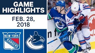 NHL Game Highlights | Rangers vs. Canucks - Feb. 28, 2018
