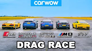 BMW M8 v Audi R8 v AMG GT 4dr v 911 vs Tesla Model X: DRAG RACE