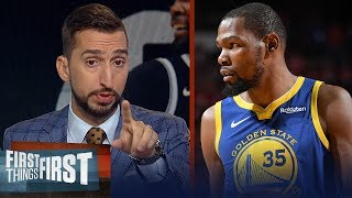 Nick Wright reacts to KD's remarks that Warriors aren't to blame for his injury | FIRST THINGS FIRST