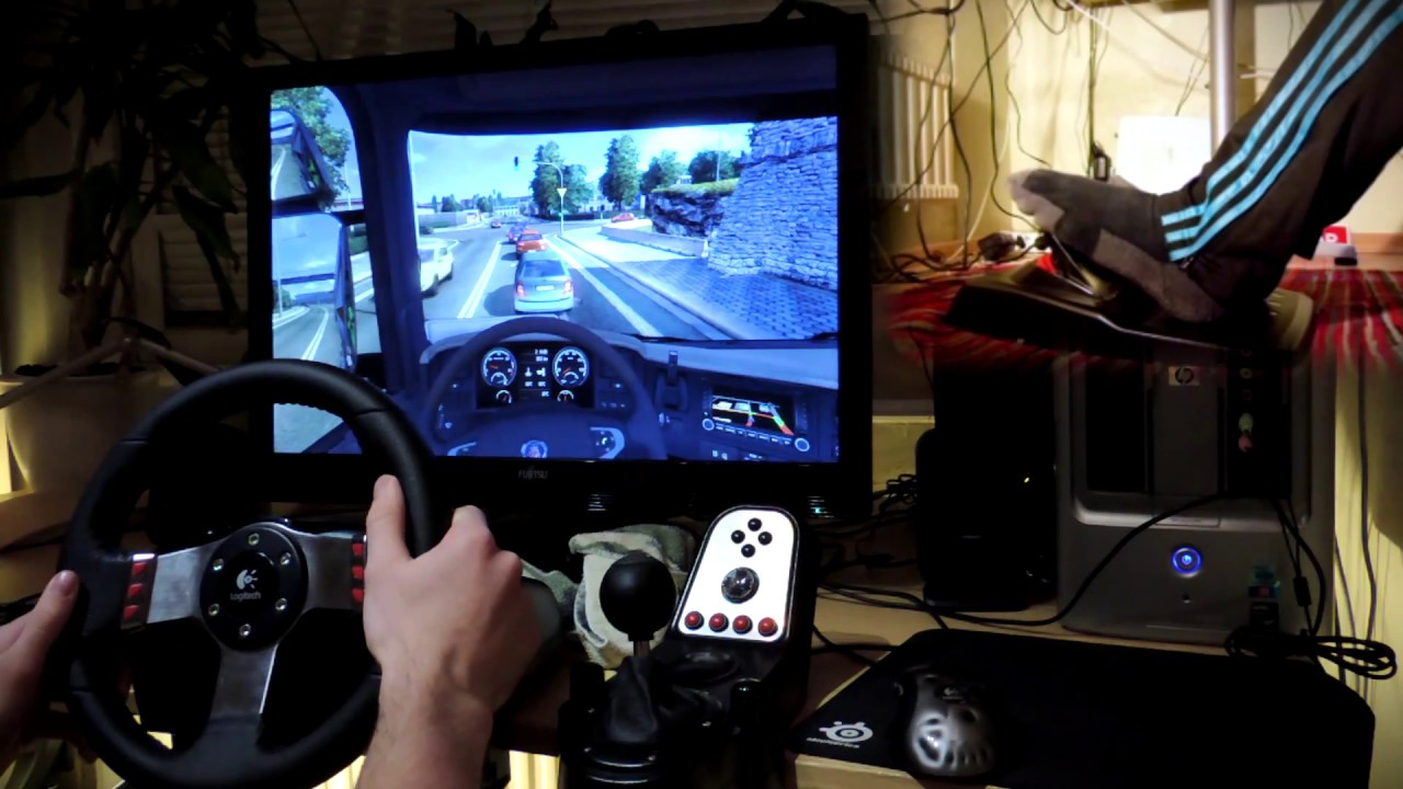 Euro Truck Simulator 2 with G27 steering wheel and feet