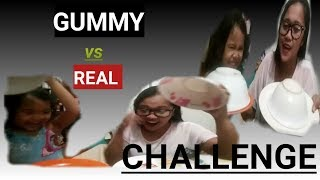 GUMMY vs REAL FOOD CHALLENGE    [ MOMMY & SOFIA ]