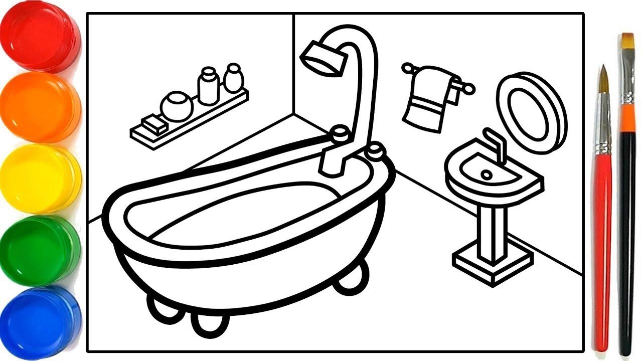 Glitter Bathroom Drawing And Coloring Pages For Kids Kamar Mandi Halaman Mewarnai