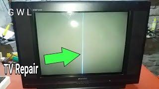 VERTICAL LINE OK,BUT HORIZONTAL LINE PROBLEM, CRT TV FAULT