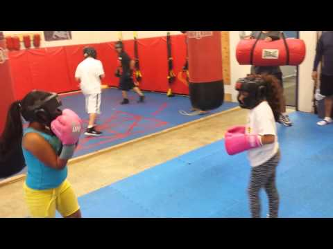 Boxing cousins getting down.