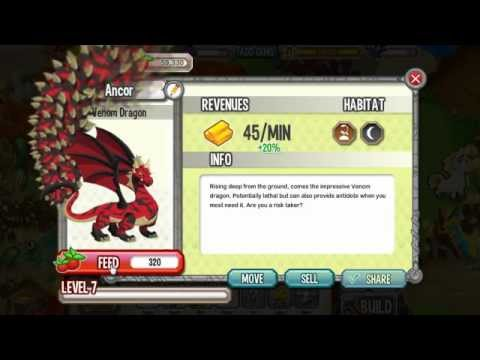 Dragon City Venom Dragon Level 1 to 9 - YouTube