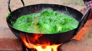 WORLD FAMOUS HYDERABADI GREEN CHICKEN | DELICIOUS GREEN CHICKEN RECIPE | FARMER COOKING