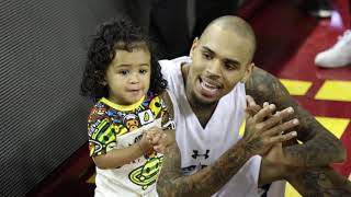 Chris Brown Practices Some Dance Moves with Daughter Royalty at Power 106 All-Star Game