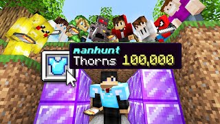 Minecraft Manhunt but i secretly used Thorns 100,000 armor..