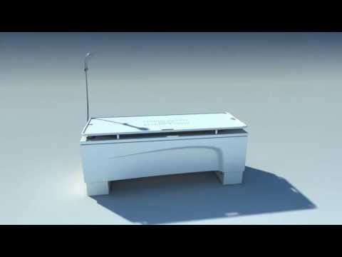 Astor-Bannerman Kiva height adjustable bath with Neatfold Stretcher