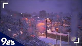 April snow falls in downtown Denver, Colo.