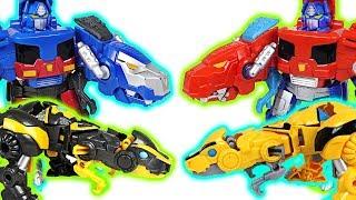 Transformers Rescue Bots transform dinosaurs Optimus Prime, Bumblebee! Go! - DuDuPopTOY