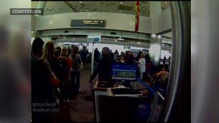 Surveillance video shows Sol Pais at the Denver International Airport on April 15