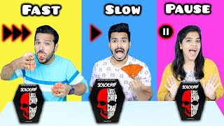 Fast Vs Slow Vs Pause Food Eating Challenge | Funny Food Challenge | Hungry Birds