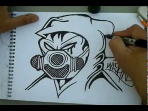 How To Draw Gas Mask Graffiti Character By Wizard Youtube