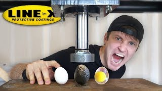 LINE-X EGG vs HYDRAULIC PRESS!! (LINE-X EGG EXPERIMENT) As Seen On TV Test!!