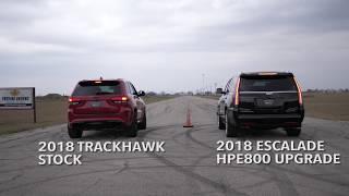 707HP Jeep Trackhawk vs 800HP Cadillac Escalade Drag Race