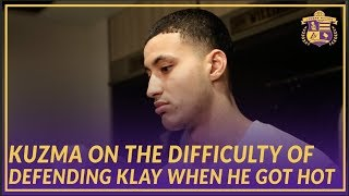 Lakers Post Game: Kyle Kuzma On Trying to Stop Klay Thompson & How Ingram Did At Point Guard