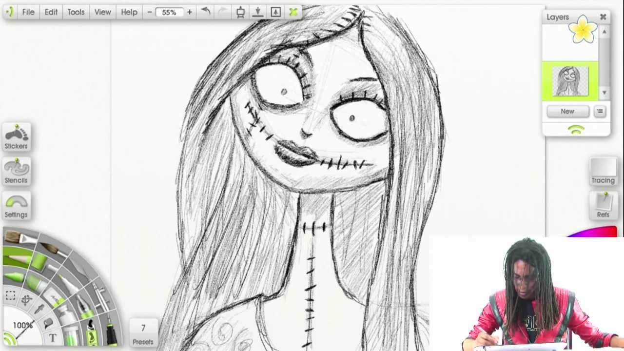 How To Draw Sally From Nightmare Before Christmas Youtube