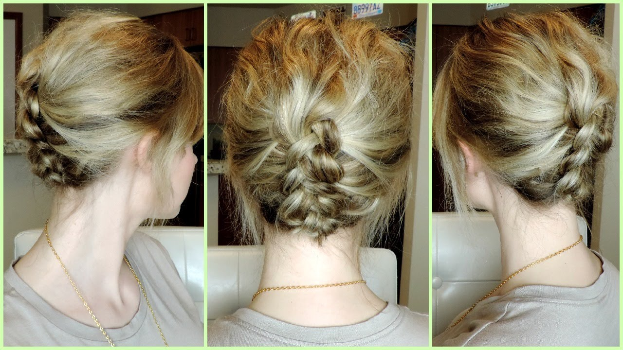 Hair Updos For Short Hair Pictures: EASY DUTCH BRAID UPDO For Short To Medium Hair