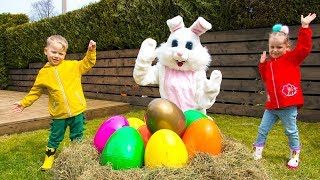 Gaby and Alex pretend play Easter Surprise Eggs Hunt & Open Toys