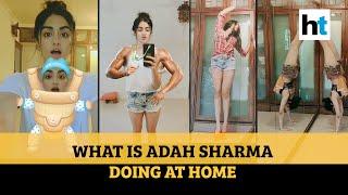 Actress Adah Sharma exercising while doing household chore..