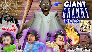 GIANT GRANNY MOD + TINY GRANNY STARTS FIRE (FGTEEV Skit / Gameplay)