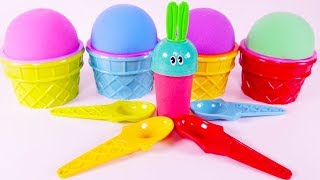 Learn Characters With 4 Colors Play Doh, Bunny Mold Ice Cream Cups Kinetic Sands Toys For Toddlers