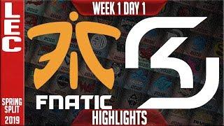 FNC vs SK Highlights | LEC Spring 2019 Week 1 Day 1 | Fnatic vs SK Gaming