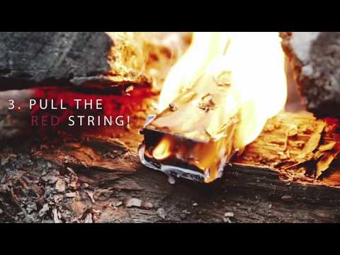 Pull Start Fire& is a new fire starter product that does not require matches, ignites even wet firewood with one quick and easy pull to a red string, and will burn 30 minutes in rain, snow and high winds. Use Pull Start Fire to start a campfire or patio fire pit.