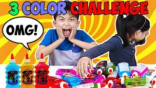 3 COLORS OF GLUE SLIME CHALLENGE!! JANICE AND KINGSTON