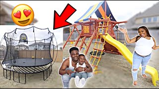SURPRISING MY FAMILY WITH A HUGE TRAMPOLINE & PLAYGROUND SET! **VERY EMOTIONAL**