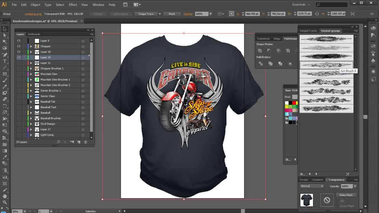 Illustrator Brushes High End Tshirt Design Tutorial Youtube