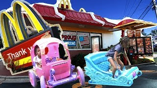 McDonalds Drive Thru Prank! Power Wheels Ride On Car Kids Fun Pretend Play Food
