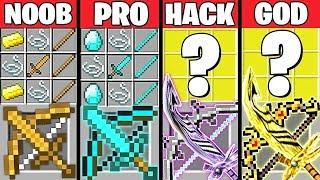 Minecraft Battle: ABILITY SWORD GUN CRAFTING CHALLENGE - NOOB vs PRO vs HACKER vs GOD ~ Animation