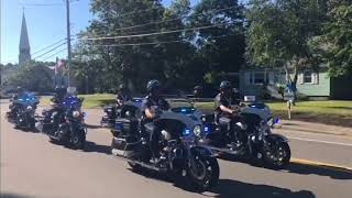 Police arrive at Weymouth Sgt. Michael Chesna's funeral