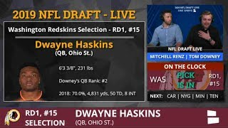 Dwayne Haskins Picked By Redskins With Pick #15 In 1st Round of 2019 NFL Draft - Grade & Analysis