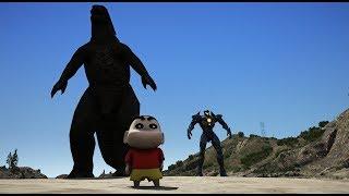 GTA 5 - Shin (cậu bé Bút Chì) hạ Godzilla cứu cả lớp   GHTG