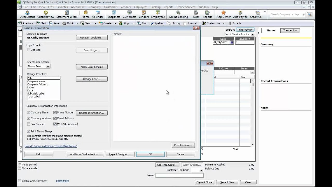 customizing your invoice in quickbooks part 1 by kathy hahn import your logo youtube