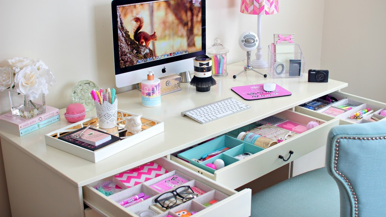 desk organization ideas how to organize your desk youtube. Black Bedroom Furniture Sets. Home Design Ideas