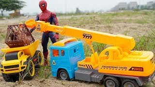 Toy Cars For Kids | Crane Truck & Dump Truck Stealing Animals, Spiderman Toys In Real Life | TOTOTV