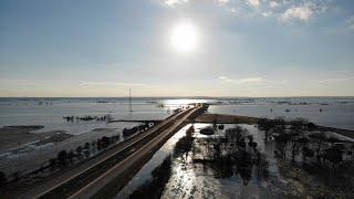 Iowa/Nebraska Flood 2019 4K Drone Footage - Pacific City IA/Highway 34  3/20/19